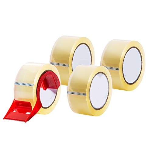 Packaging Tape, Heavy Duty Packing Tape, Clear - for Moving Boxes, Shipping, Office, and Storage - 55 Yards Length - with Dispenser - 4 Rolls Per Pack