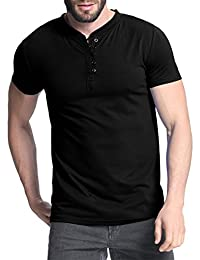 Men's Short Sleeve Shirts Button Tee V Neck Slim Fit Contrast Placket Tops