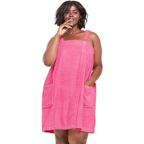 Dreams & Co. Women's Plus Size Terry Towel Wrap - Peony Petal, 22/24
