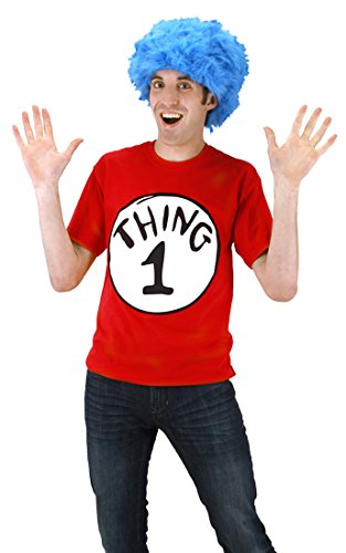 Thing 1 and 2 T-shirt with Wig Adult Costume Thing 1 - Large