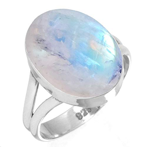 925 Sterling Silver Ring Rainbow Moonstone Handmade Jewelry Size 7.5