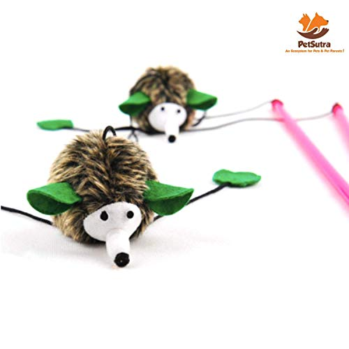 PetSutra Hedgehog Teaser Stick Cat Toy Multicolored