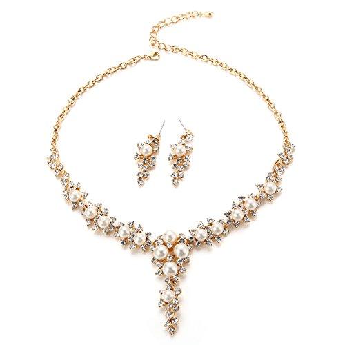 Gold wedding necklace amazon faybox glamorous crystal rhinestone beading necklace earrings wedding jewelry sets pearls gold junglespirit Images