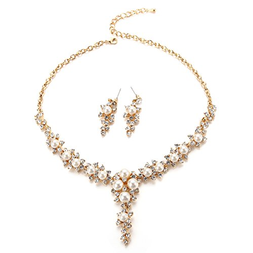 FAYBOX Glamorous Crystal Rhinestone Beading Necklace Earrings Wedding Jewelry Sets Pearls - Necklace Set Pearls Gold
