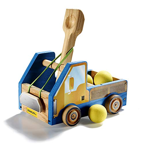 Stanley Jr DIY Wood Catapult Toy Trucks for Kids - Easy to Assemble Model Truck Kit - Catapult Craft Kit - Wooden Catapult Launcher Kit - Parts, Paint & Decals Included]()