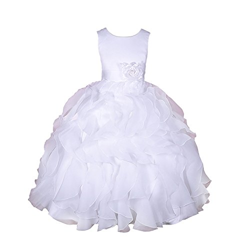 Dressy Daisy Girls' Satin Organza Ruffle Flower Girl Dresses Pageant Gown Party Communion Occasion Dress Size 6 White