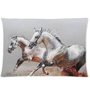 LarryToliver You deserve to have two-sided printing Satin fabric 20 X 30 inch pillowcase drawing horses horse steam running dust Design best pillow cases