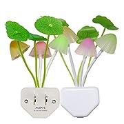 2 Pack Led Night Light w/Dusk to Dawn Sensor,AUSAYE 0.2W Plug-in Night Light Lamp, Night Lights for Kids Adults Mushroom Night Light Wall Lamps NightLight