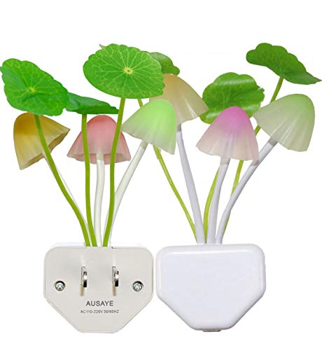 - 2 Pack Led Night Light w/Dusk to Dawn Sensor,AUSAYE 0.6W Plug-in Night Light Lamp, Night Lights for Kids Adults Mushroom Night Light Wall Lamps NightLight