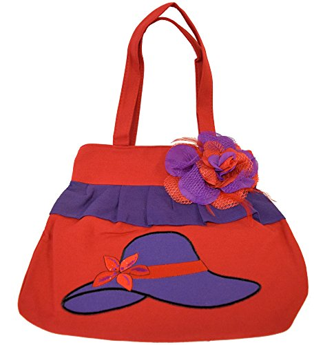 Great Deals! Red Purse / Purple Hat Design / Removable Flower Pin