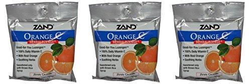 Zand HerbaLozenge Organic Orange (Pack of 3) With Orange Juice, Hibiscus Flower, Orange Peel, Lemon Peel, Rose Hips and Lemongrass Herb, 15 Count Each.