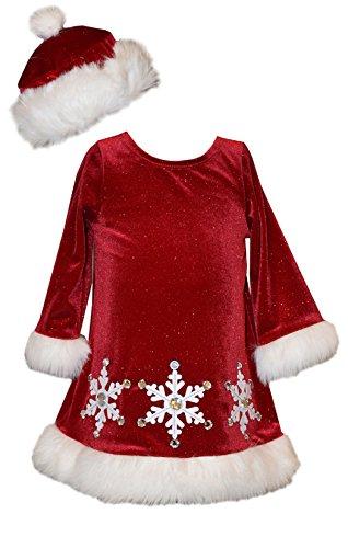 Bonnie Jean Little Girls' Holiday Santa Dress With Hat (4T, (Little Girls Santa Dresses)