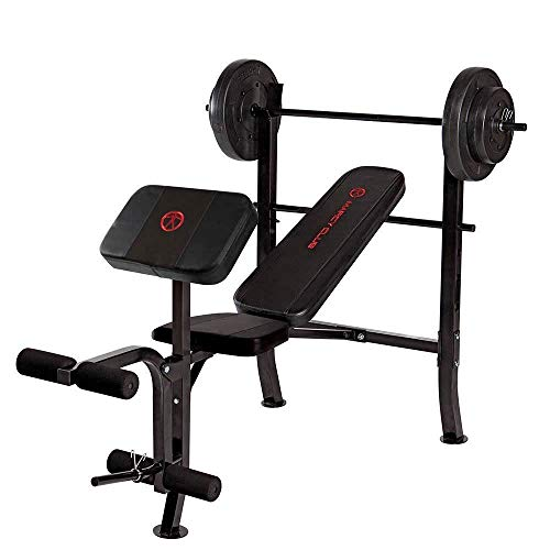 Marcy OPP Standard Bench with 80 lb Weight Set, Black/Black , OS (Marcy Weight Bench Set)