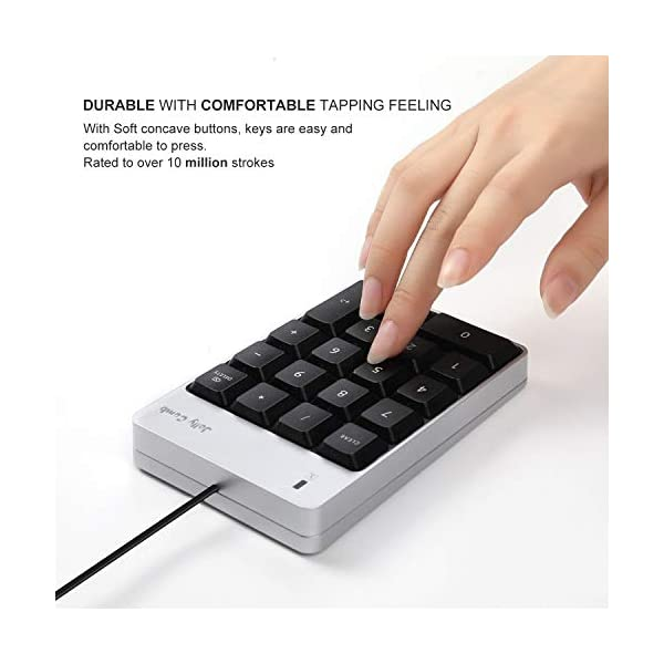 Jelly Comb Wired USB C Number Pad for Type C Laptop, Mac iMac MacBook Pro/Air, 18 Key Numeric Keypad -Silver and Black