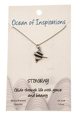 Stingray Pearl - Shag Wear Ocean of Inspirations Quote Pendant Necklace (Stingray Pendant)