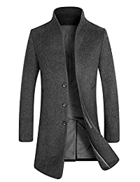 APTRO Men's Winter Trench Wool Coat French Front Slim Fit Long Business Coat