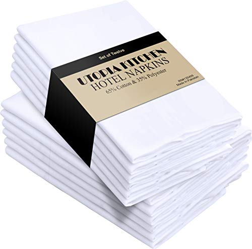 Utopia Kitchen Cloth Napkins (18 inches x 18 inches) - 12 Pack Soft and Comfortable Cotton Dinner Napkins (Best Fabric For Napkins)