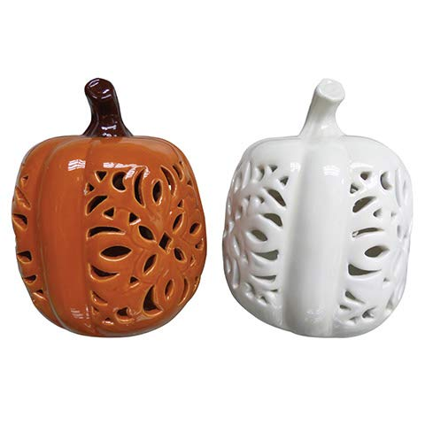 Pumpkins Table Top Decorations Fall Thanksgiving Halloween, Orange and White with Porcelain Cutout (2 Pack)