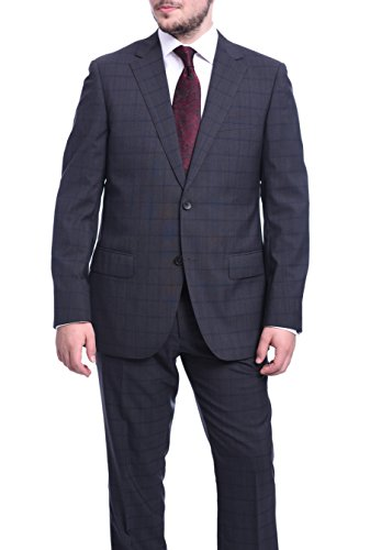 (Napoli Classic Fit Gray with Navy Blue Plaid Half Canvassed Super 150s Wool Suit)