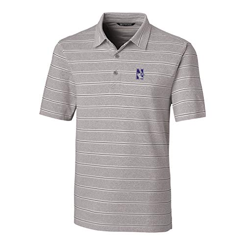 Cutter & Buck NCAA Northwestern Wildcats Mens Short Sleeve Heather Stripe Forge Polo, Polished, Large