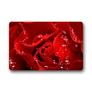 "Personalizar lavable a máquina resistente para interiores/exteriores Felpudo–-Love Red Rose Custom alfombra/puerta Pad 23.6""(L) X 15,7(W)"
