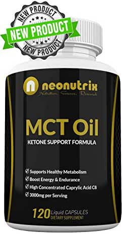 Pure MCT Oil Capsules Ketone Level Booster Supports Healthy Metabolism - Naturally Boosting Energy Pill - Healthy Mental Focus Dietary Supplement - Made in USA - 120 Liquid Capsules by Neonutrix