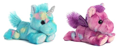 Bundle Of 2 Aurora 7  Stuffed Beanbag Animals   Blueberry Ripple Unicorn   Tutti Frutti Pegasus