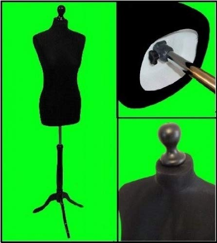 BLACK Size 10-12 Female Dressmaking Mannequin Tailors Bust Dressmakers Display Dummy on a Black Stand The Shopfitting Shop