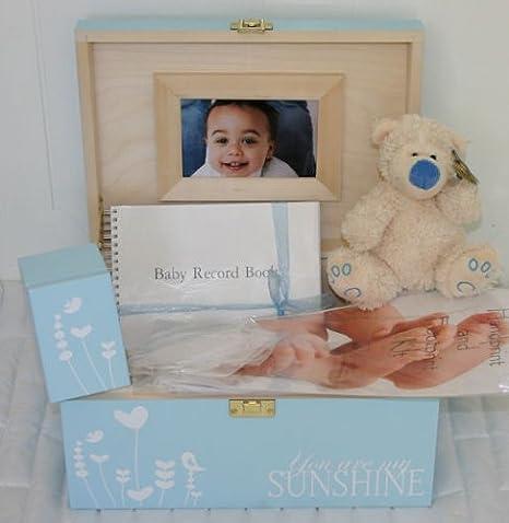 Boys azul bebé decorativa de madera caja de recuerdos – Juego de cajas de regalo para un niño ideal para futura mamá, maternidad Regalos: Amazon.es: Bebé