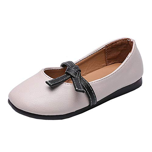 (Toddler Princess Shoes,Kids Baby Girl Fashion Princess Bowknot Dance Nubuck Leather Casual Single Shoes,Girls' Flats White)