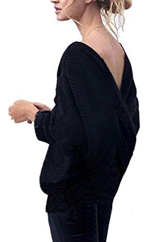 Scollato Donna Maglieria Croce Invernale Maglia Pullover Sweater Jumper Tops Elegante Maglione AIYUE® Maniche Sciolto Nero Lunghe V w5xAIWqZz1