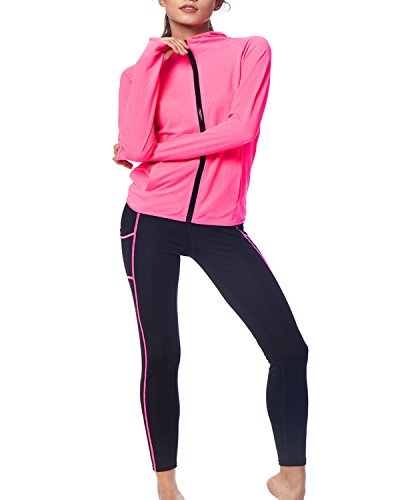 BELLEZIVA Women's Yoga Two Pieces Long Sleeve Zip up Pullover Tracksuits M Neon (Purple Womens Tracksuit)