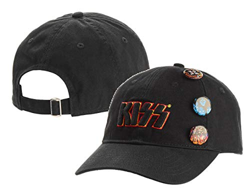 KISS Men's Embroidered KISS Logo Twill Buckle Adjustable Closure Hat + 3 Illustrated PINS (Black, One -