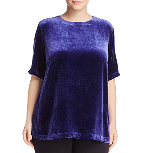 Eileen Fisher Dark Venues Velvet Round Neck Top Plus Size (1X) Navy