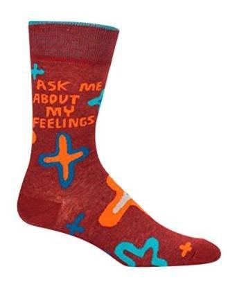 Blue Q Socks, Mens Crew, Bezig Met Het Maken Van Een Verschil, Vraag Me Naar Mijn Gevoelens