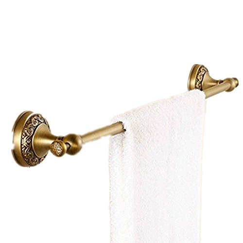 AUSWIND European Antique Bronze Brushed Brass Flowers Carved Towel Bar 23'' Circular Base Towel Holder Wall Mounted Bathroom Accessories HW