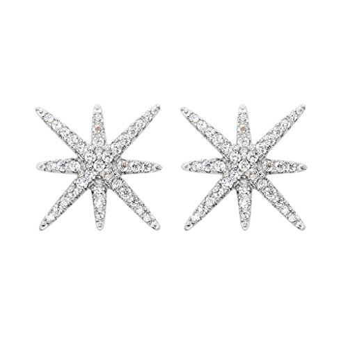 EVER FAITH 925 Sterling Silver Full Cubic Zirconia Winter Snowflake Star Stud Earrings Clear - Pave Star Earrings