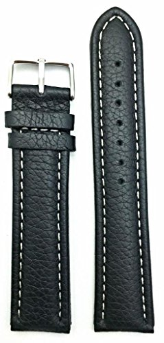 (22mm Long, Black Genuine Leather Watch Band | Buffalo Shrunken Grained, Medium Padded Replacement Wrist Strap with Creamy White Stitches that brings New Life to Any Watch (Mens Long Length))