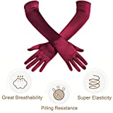 BABEYOND Long Opera Party 20s Satin Gloves Stretchy Adult Size Elbow Length