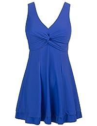 Wantdo Women's Plus Size Swimsuit Printing Padded High Waist Swimdress One Piece Swimwear