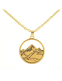3D Snow Mountain Landscape Pendant Necklace Gift for Outdoor Traveller Lovers