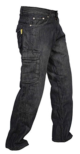 Newfacelook Denim Cargo Motorbike Sports Jeans Aramid Protection Lining I-102 Black by Newfacelook