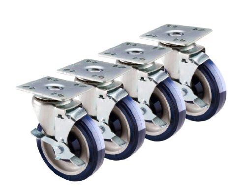 Brake 111 (Krowne Metal 30-111S Set of 4 Economy Swivel Plate Casters with Brakes, 5