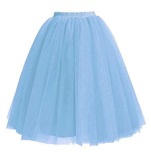 Facent Femmes 5 Couches Jupons Tutu Tulle Jupes Longueur Genou sous Robe 65cm Bleu
