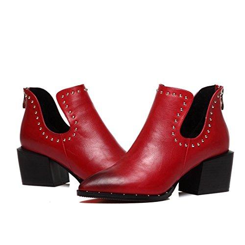 Scarpe Da Ginnastica Moda Donna Blocco Scarpe In Pelle Tacco Grosso Posteriore Cerniera Scarpe Casual Rosso