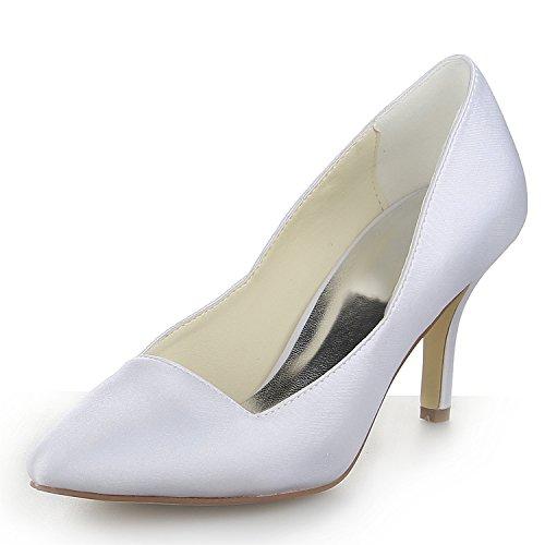 Mariée Pour Talons JIA JIA 8390B21 Pumps Chaussures de Bout Chaussures Blanc Mariage de Femme Satin Pointu 1wIwXqnz