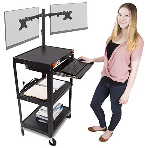 Line Leader AV Cart with Keyboard Tray and Dual Monitor Mount - Mobile Workstation/Presentation Cart with Monitor Arm - Take Your Office On-The-Go with Our Stand Up Computer Cart (Black - Line Carts