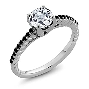 1.82 Ct Round White Topaz Black Diamond 925 Sterling Silver Women's Ring (Available in size 5, 6, 7, 8, 9)