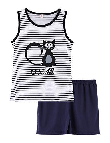 Girls Tank Top and Shorts Pajamas - Tween & Teens PJS Big Kids Cute Sleepwear Black Cat Size 14 ()