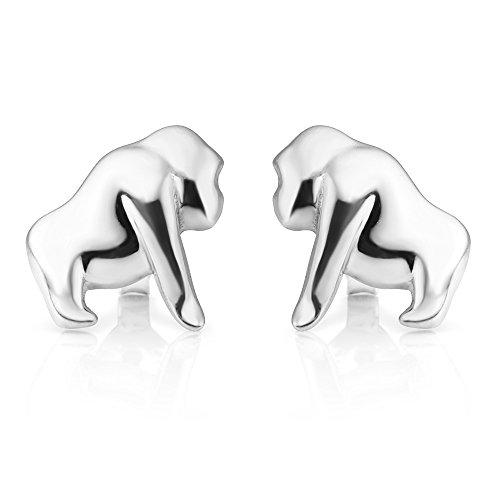 - 925 Sterling Silver Tiny Little Gorilla King Kong Monkey Ape Movie Icon Post Stud Earrings 11 mm